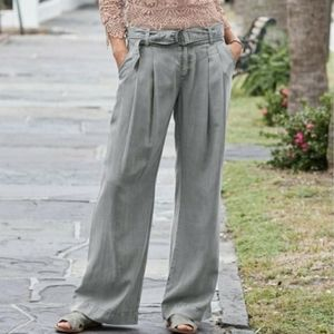 Sundance Everyday Pleated Belted Wide Leg Pants